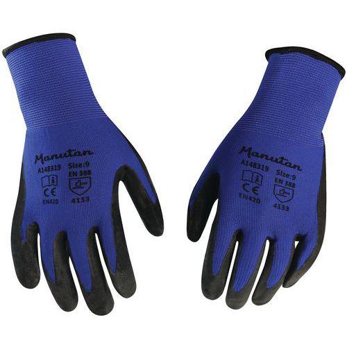 Nylonové rukavice Manutan polomáčané v nitrile, modré/čierne