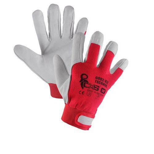 Kožené rukavice CXS, biele/červené