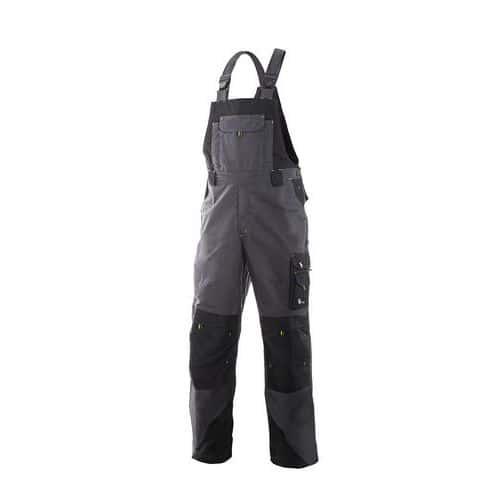 Pánske montérkové nohavice CXS s náprsenkou, sivé/čierne