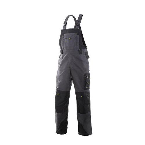 Pánske montérkové nohavice CXS Sirius Tristan s náprsenkou, sivé/čierne