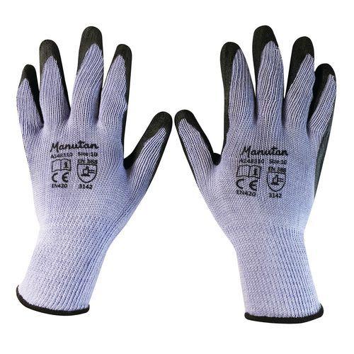 Nylonové rukavice Manutan polomáčané v latexe, sivé