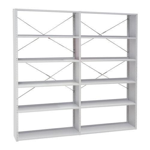 Kovové regály, základné, 198 x 100 x 30 – 40 cm, 5 políc, sivé