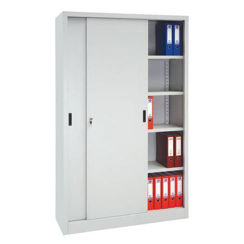 1f5f3b2bf93b6 Kovová spisová skriňa s posuvnými dverami, 4 police, 200 x 120 x 45 cm