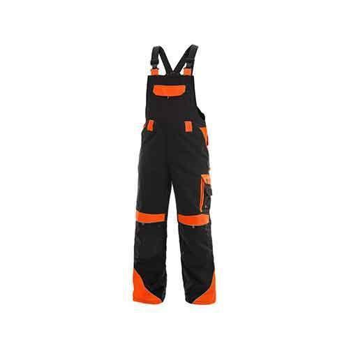 Pánske montérkové nohavice CXS Sirius Brighton s trakmi a reflexnými prvkami, čierne/oranžové