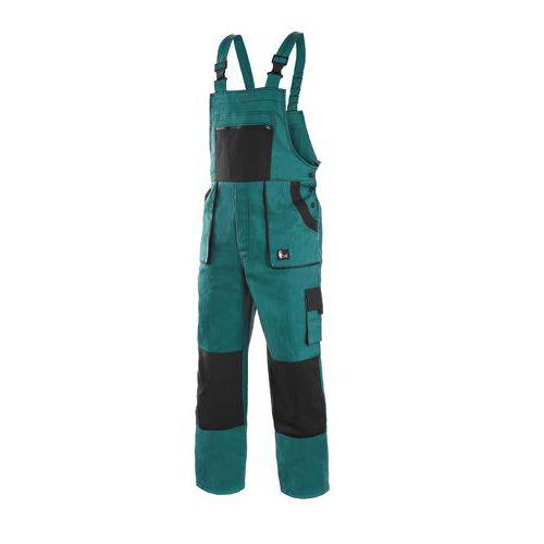 Zimné pánske montérkové nohavice CXS s náprsenkou, zelené/čierne