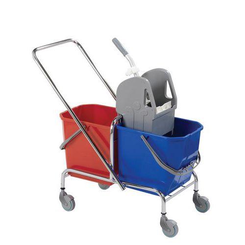 Upratovací vozík s pákovým žmýkačom, objem 2 x 15 l