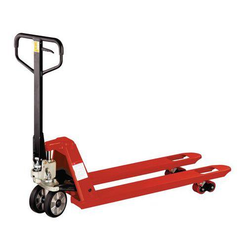 Paletový vozík, do 2 500 kg, gumové riadiace kolesá