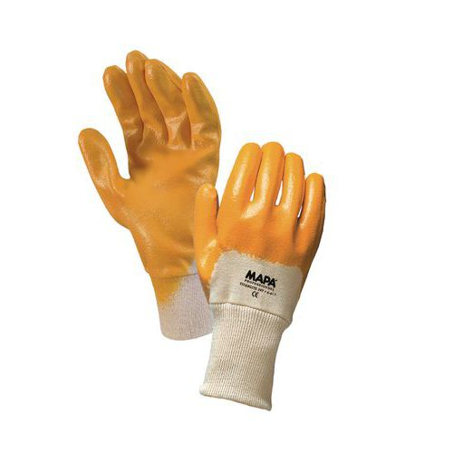Bavlnené rukavice Mapa polomáčané v nitrile, žlté/biele