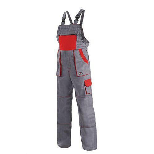 Pánske montérkové nohavice CXS s náprsenkou, sivé/červené