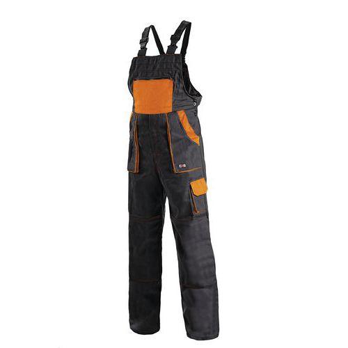 Pánske montérkové nohavice CXS s náprsenkou, čierne/oranžové