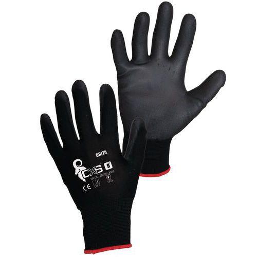 Polyesterové rukavice CXS polomáčané v polyuretáne, čierne