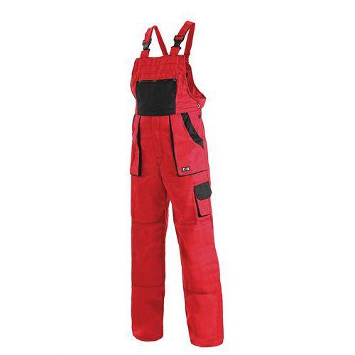 Pánske montérkové nohavice CXS s náprsenkou, červené/čierne