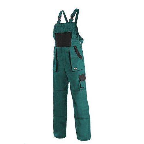 Pánske montérkové nohavice CXS s náprsenkou, zelené/čierne