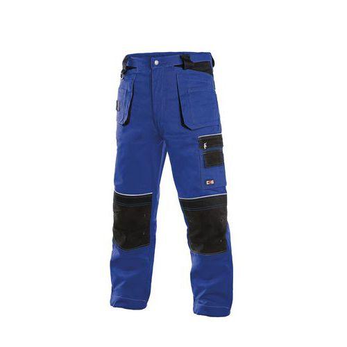 Pánske montérkové nohavice CXS s reflexnými prvkami, modré/čierne
