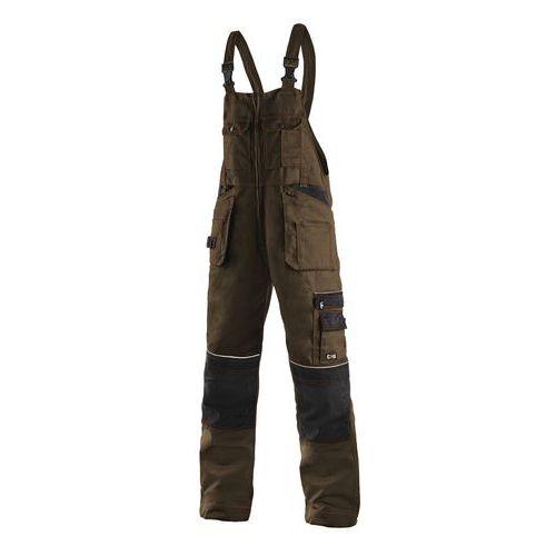 Pánske montérkové nohavice CXS s náprsenkou a reflexnými prvkami, hnedé/čierne