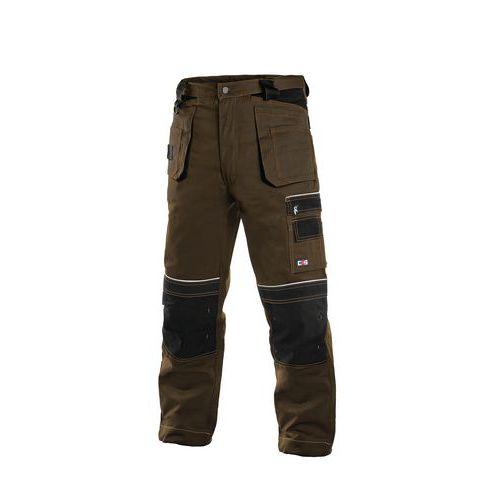 Pánske montérkové nohavice CXS s reflexnými prvkami, hnedé/čierne