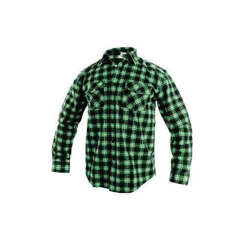 Pánska flanelová košeľa s dlhým rukávom, zelená/čierna