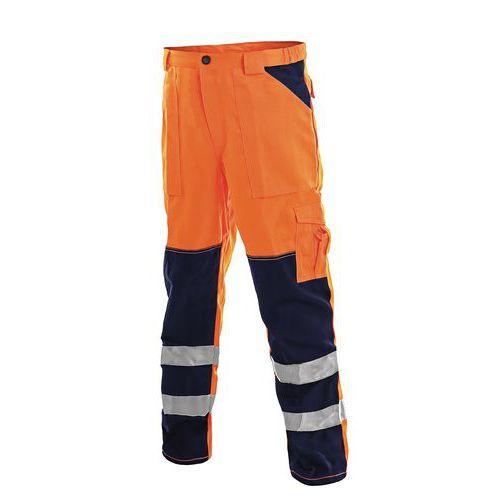Pánske montérkové reflexné nohavice CXS, oranžové/modré