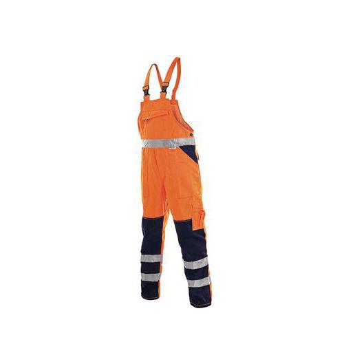 Pánske montérkové reflexné nohavice CXS s náprsenkou, oranžové/modré