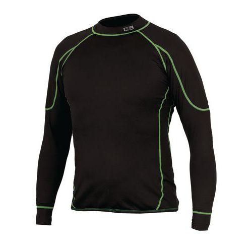Pánske termo tričko s dlhým rukávom, čierne/zelené