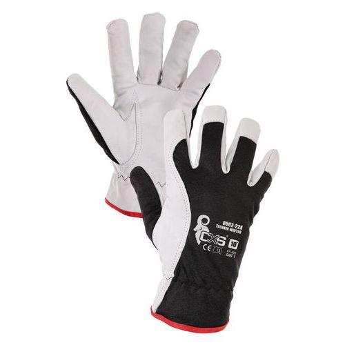 Kombinované zimné rukavice CXS Technik Winter, čierne/biele