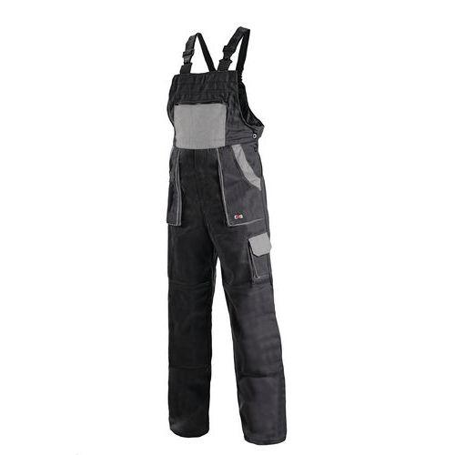 Pánske montérkové nohavice CXS s náprsenkou, čierne/sivé
