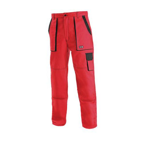 Pánske montérkové nohavice CXS, červené/čierne