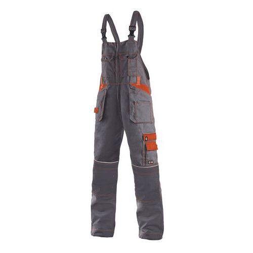 Pánske montérkové nohavice CXS s náprsenkou a reflexnými prvky, sivé/oranžové