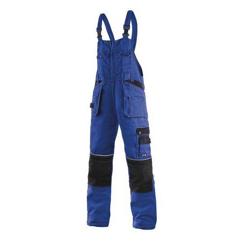 Pánske montérkové nohavice CXS s náprsenkou a reflexnými prvkami, modré/čierne
