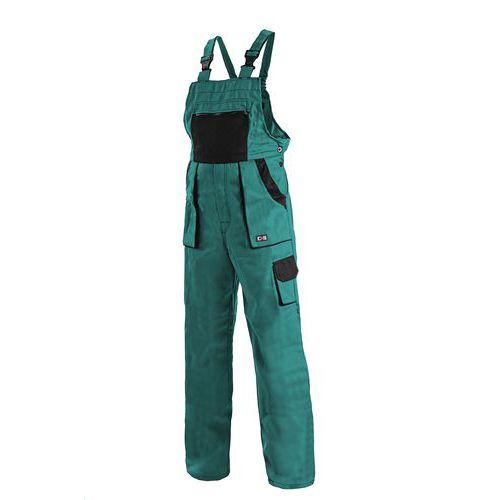 Dámske montérkové nohavice CXS s náprsenkou, zelené/čierne
