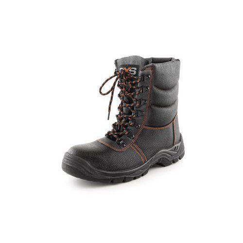 Zimné pracovné kožené poloholenné topánky CXS Stone s oceľovou špicou, čierne