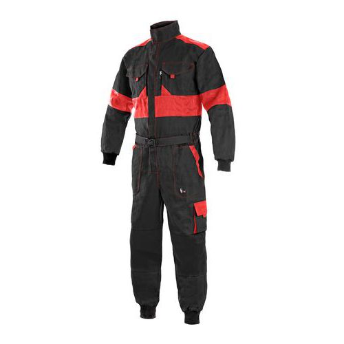 Pánska pracovná kombinéza CXS, čierna/červená