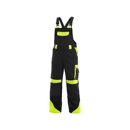 Pánske montérkové nohavice CXS Sirius Brighton s trakmi a reflexnými prvkami, čierne/žlté