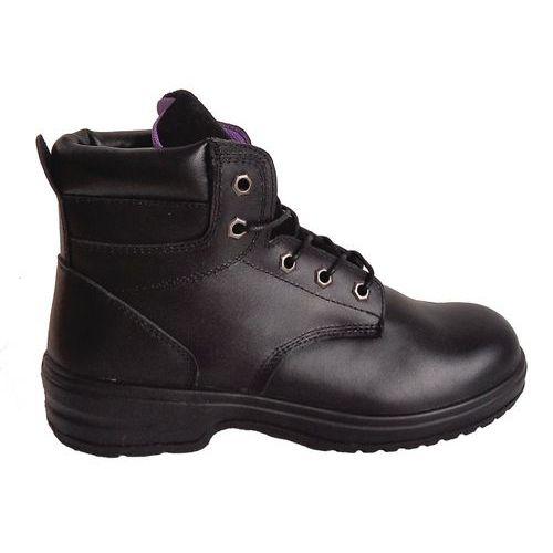 Pracovné koženkové členkové topánky Manutan s oceľovou špicou, dámske, čierne