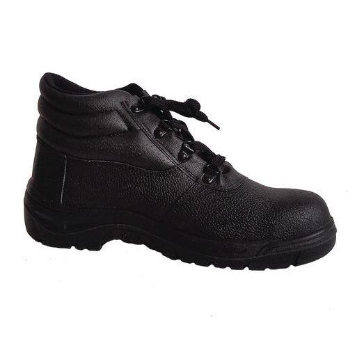 Pracovné kožené členkové topánky Manutan s oceľovou špicou, čierne
