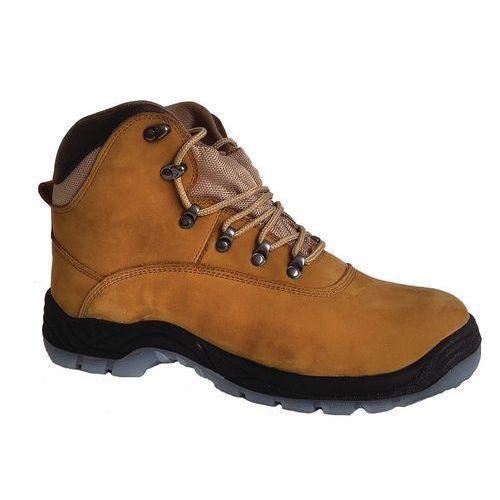 Pracovné kožené členkové topánky Manutan s oceľovou špicou, hnedé