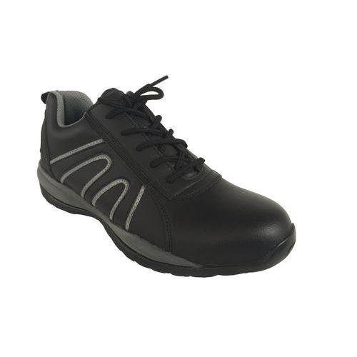 Športové kožené tenisky Manutan s oceľovou špicou, čierne/sivé