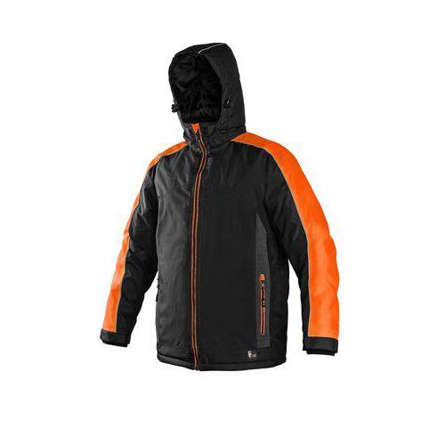 Pánska zimná bunda CXS s reflexnými prvkami, čierna/oranžová