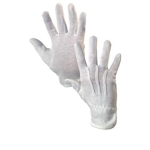 Bavlnené rukavice CXS s terčíkmi, biele