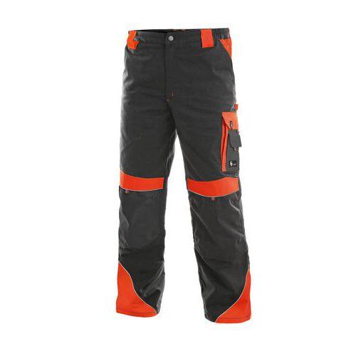 Pánske montérkové nohavice CXS Sirius Brighton s reflexnými prvkami, sivé/červené