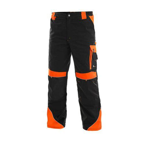 Pánske montérkové nohavice CXS Sirius Brighton s reflexnými prvkami, čierne/oranžové