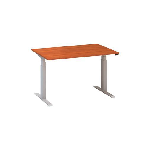 Výškovo nastaviteľné kancelárske stoly Alfa Up so sivým podnožím, 120 x 80 x 61,5-127,5 cm