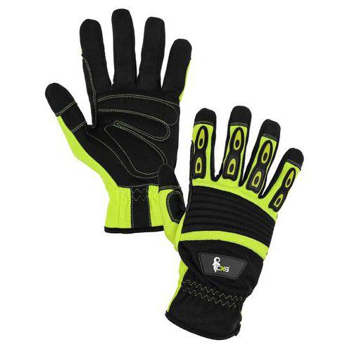 Kožené rukavice CXS Yema zo syntetickej kože, čierne/žlté