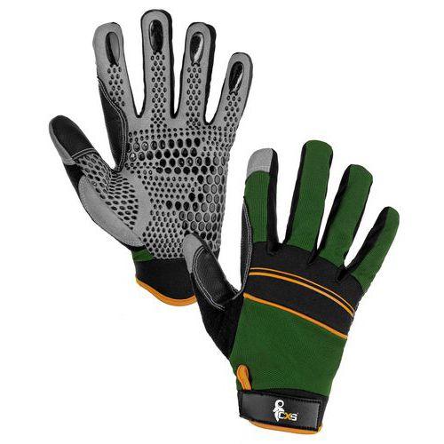 Kožené rukavice CXS Caraz zo syntetickej kože s terčíkmi, zelené/čierne