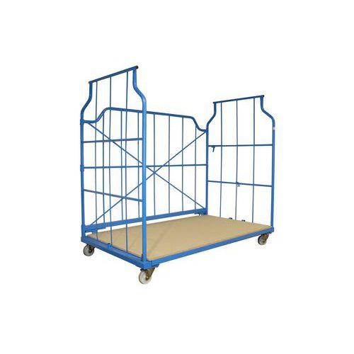 Stohovateľný pojazdný kontajner s mrežovanými stenami, do 800 kg