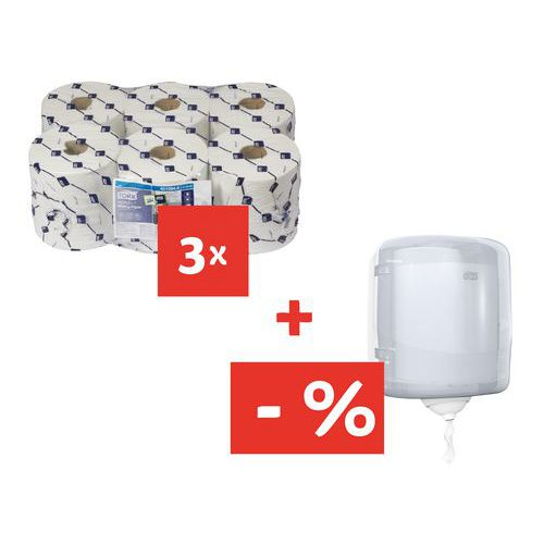 5ff4f2740 Papierové utierky Tork Reflex 1-vrstvové, 857 útržkov, biele, 18 ks +  Zásobník Tork Reflex za ...