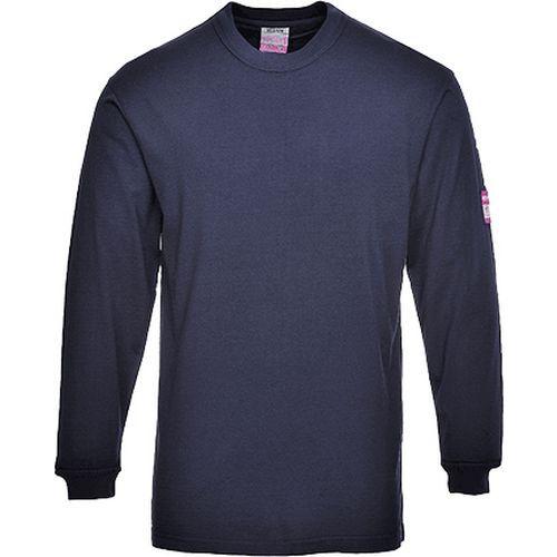 Nehorľavé antistatické tričko s dlhým rukávom, modrá