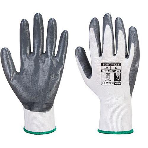 Rukavice nitrilové Flexo Grip, biela/sivá