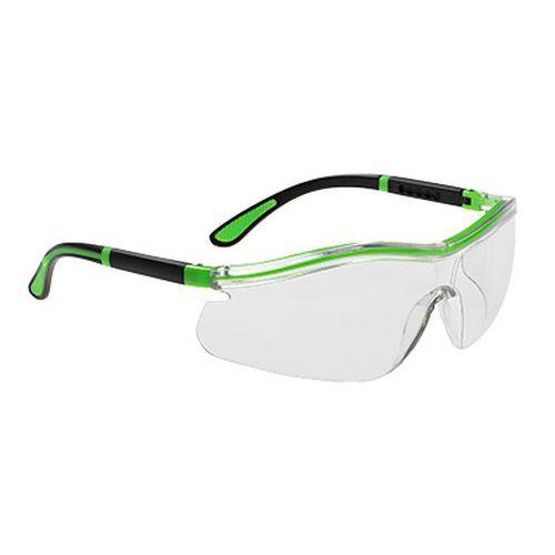 Neon bezpečnostné okuliare, priehľadná