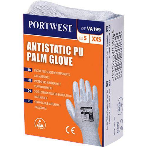 Automatové antistatické PU rukavice, sivá